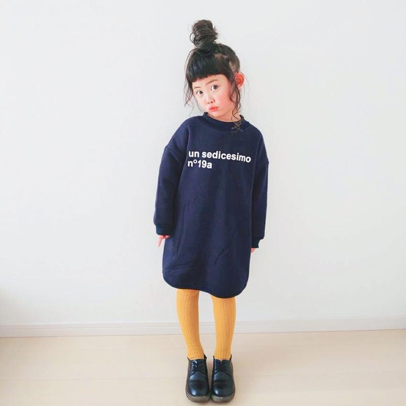 (即納♡)(kids☆)裏起毛シンプルロゴワンピース(ブラック)
