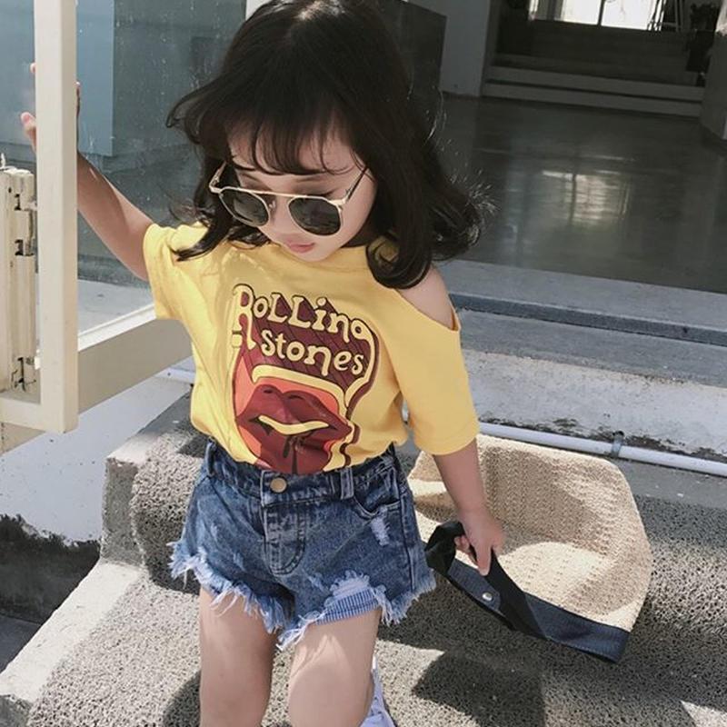 (即納♡)(kids)肩開きロックプリントTシャツ(イエロー)