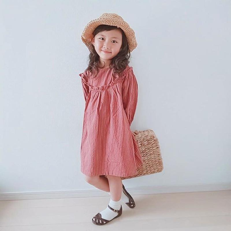 (即納♡)(kids☆)ストライプワンピース(ピンク)