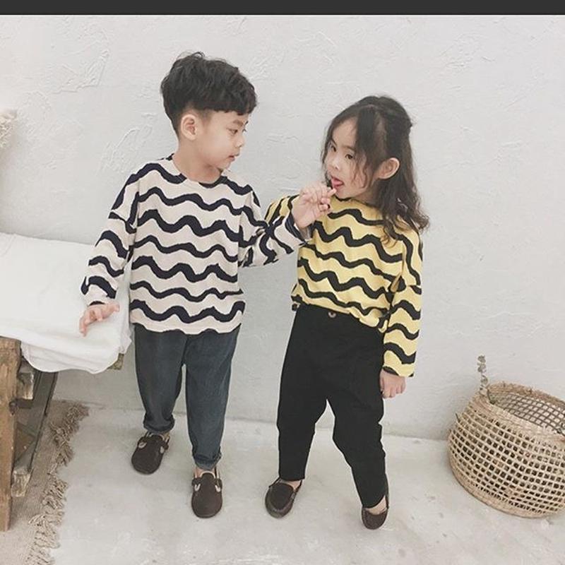 (即納♡)(kids ウェーブパターンロングTシャツ  イエロー