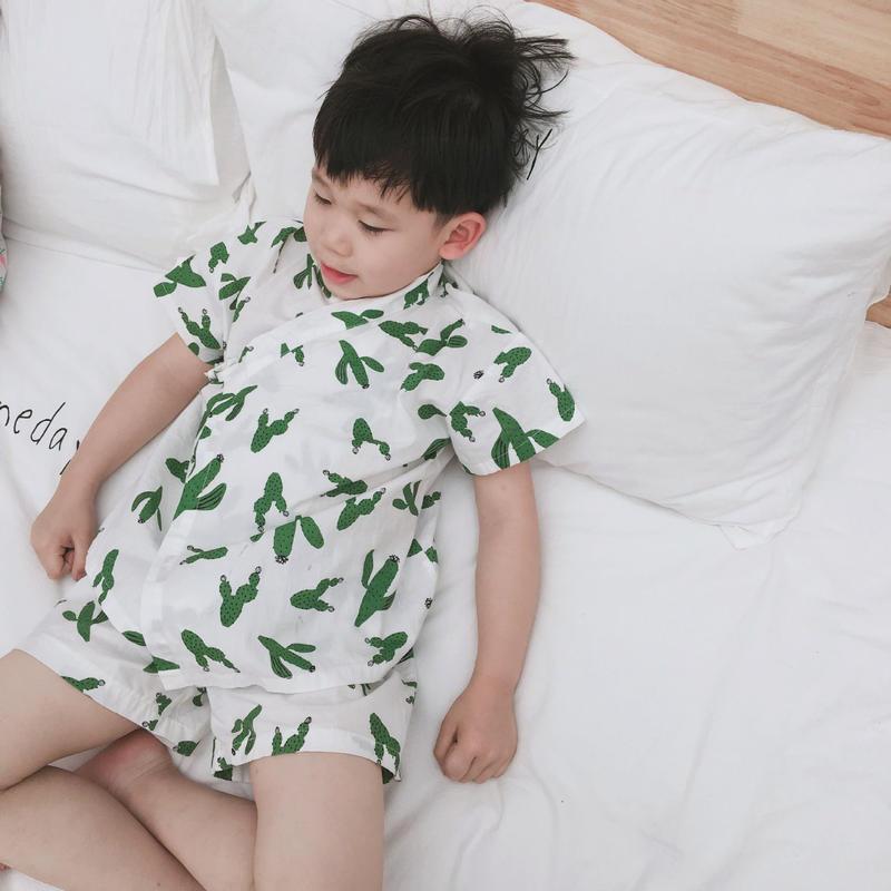 NEW(即納♡)(kids☆)サボテン柄甚平
