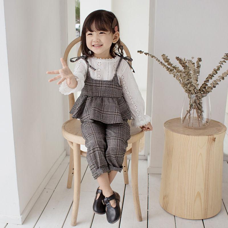 (即納♡)(kidS)デザイントップス&グレンチェックキャミ&パンツ3点SET