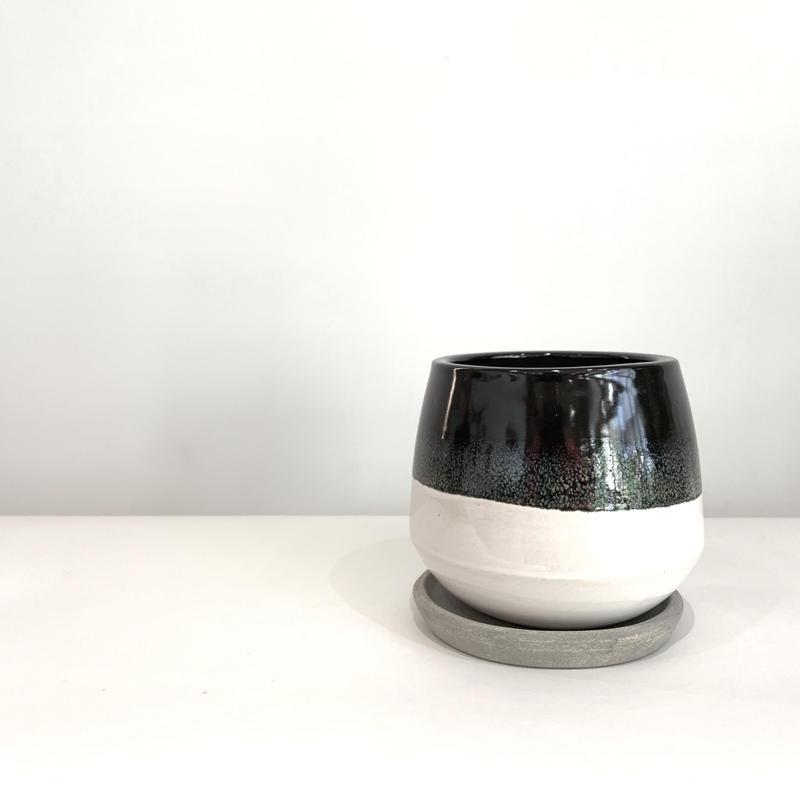 陶器鉢   丸 black&white  / brown
