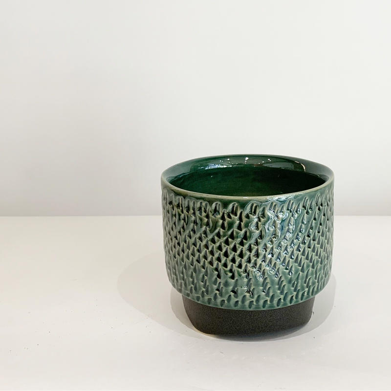 陶器鉢 トビカンナ模様 green  / yellow