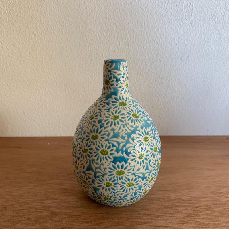陶器 一輪挿し ブルー