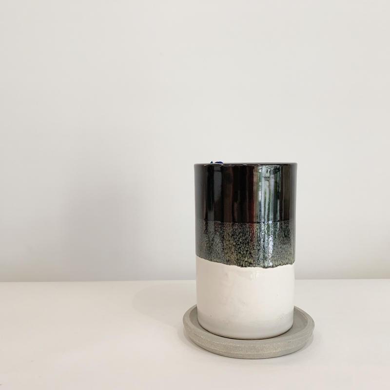 陶器鉢  black&white 縦長