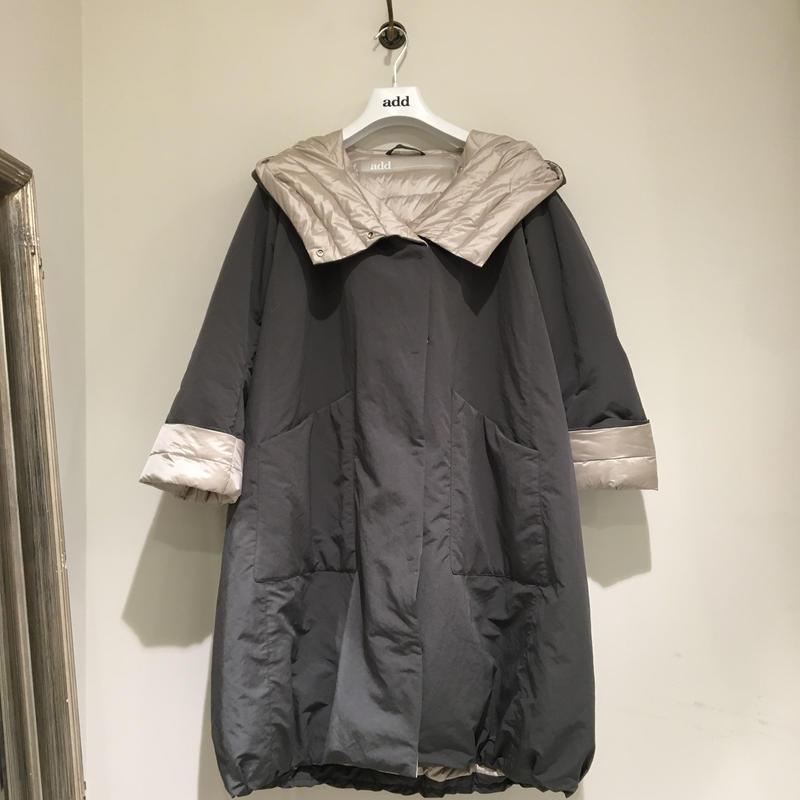 add/リバーシブル春夏用ダウンコート/グレー×シャンパンベージュ