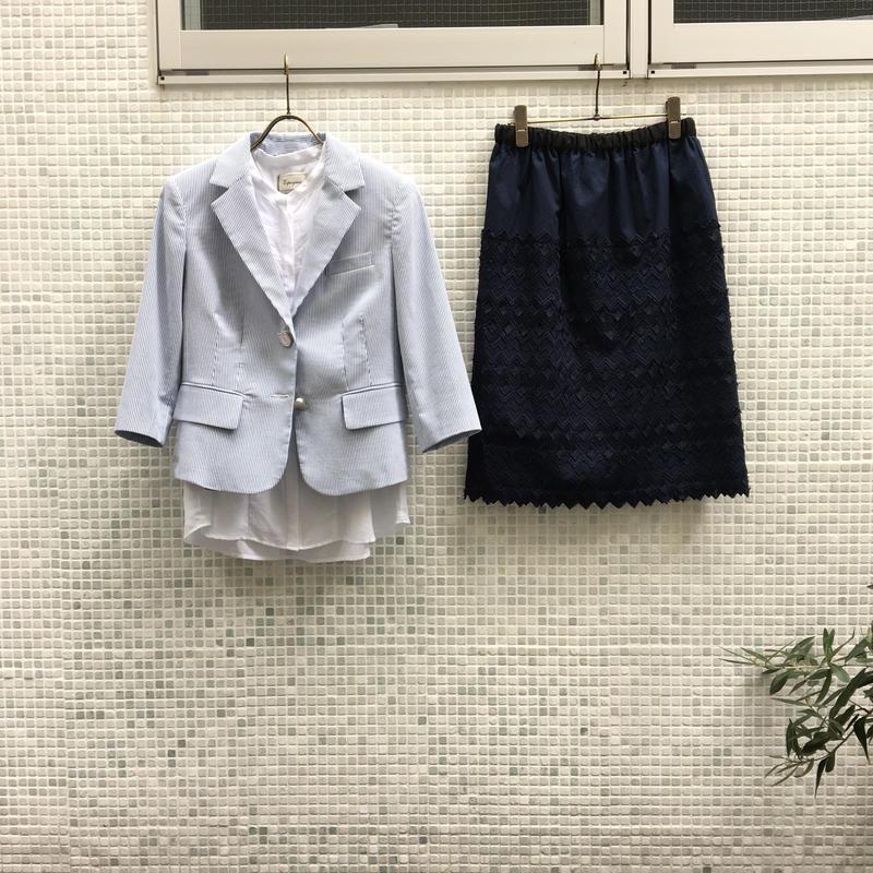 ¥34,000→¥9,999 17P55648/シアサッカージャケット/七分丈ブルー/38