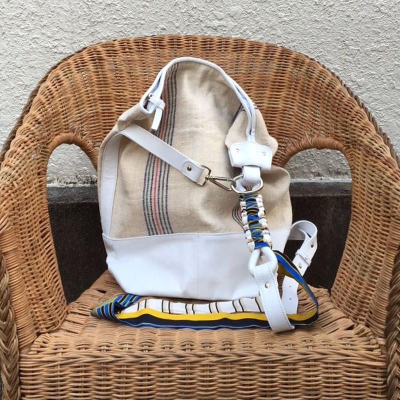 BRADARICONMAE Hippe Linen Bag with Vintagescarf