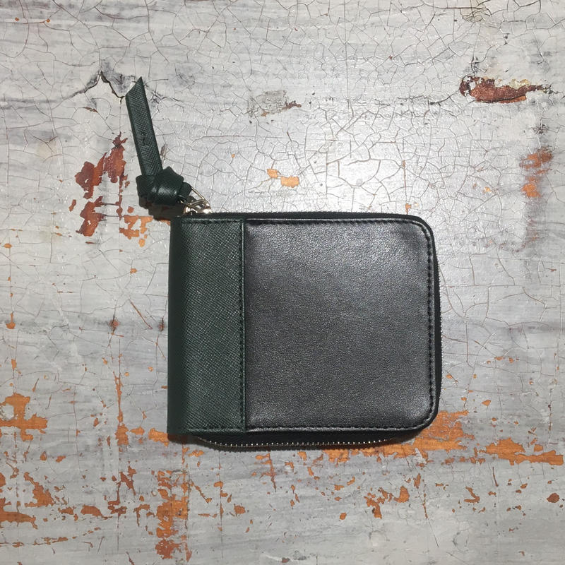 SAGAN二つ折り財布/ブラック&グリーン
