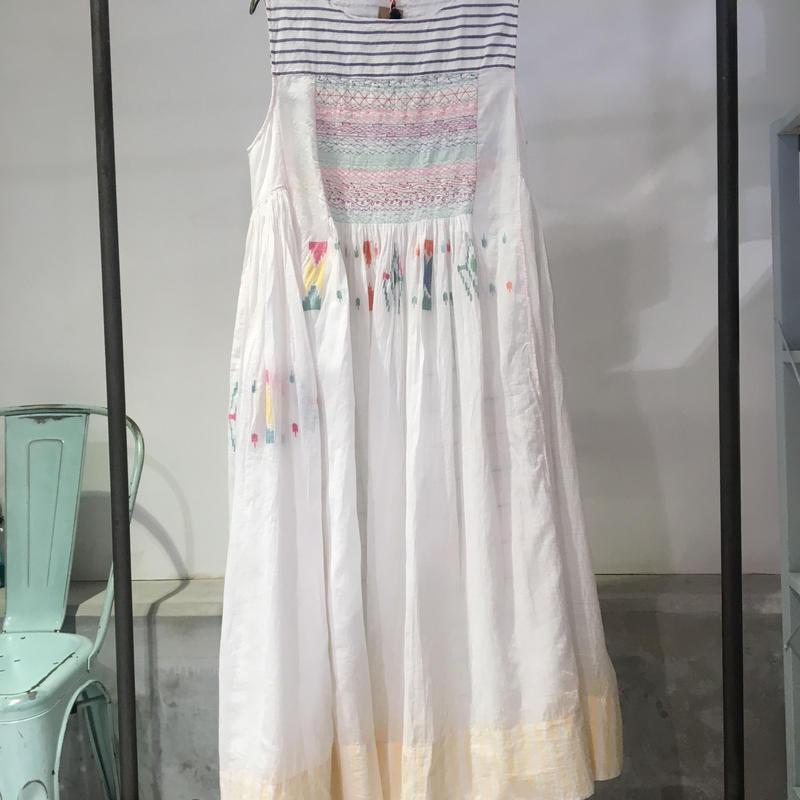 injiriコットンシルクボーダードレス/38サイズ(M)