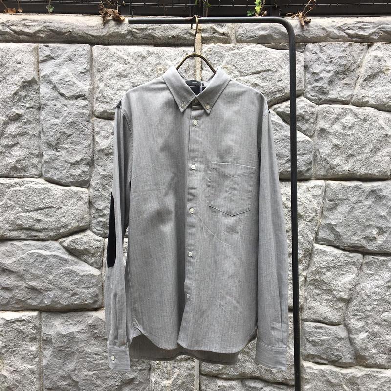 Groupie グレーヘリンボーン/エルボーパッチボタンダウンシャツ