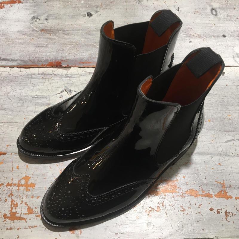 Palancoエナメルウィングチップ/サイドゴアブーツ/ブラック