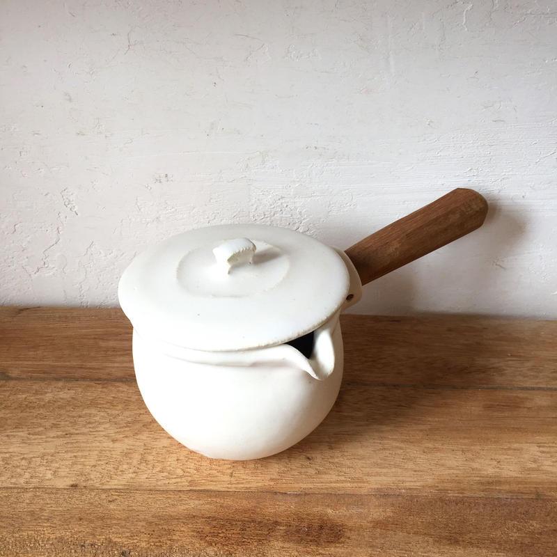 馬場勝文 ふた付き耐熱ミルクパン 白
