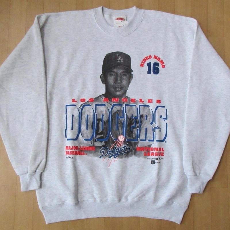 90's USA製 ロサンゼルス ドジャース NUTMEG野茂英雄 フォト スウェットLアッシュグレーLos Angeles DodgersトレーナーLA Nomoトルネード【deg】