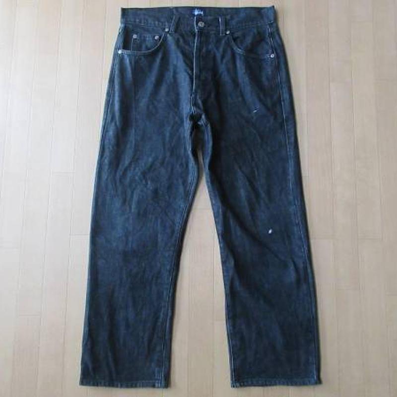 90s USA製STUSSY ブラック デニム パンツ 32 ジーンズWORKワーク【deg】