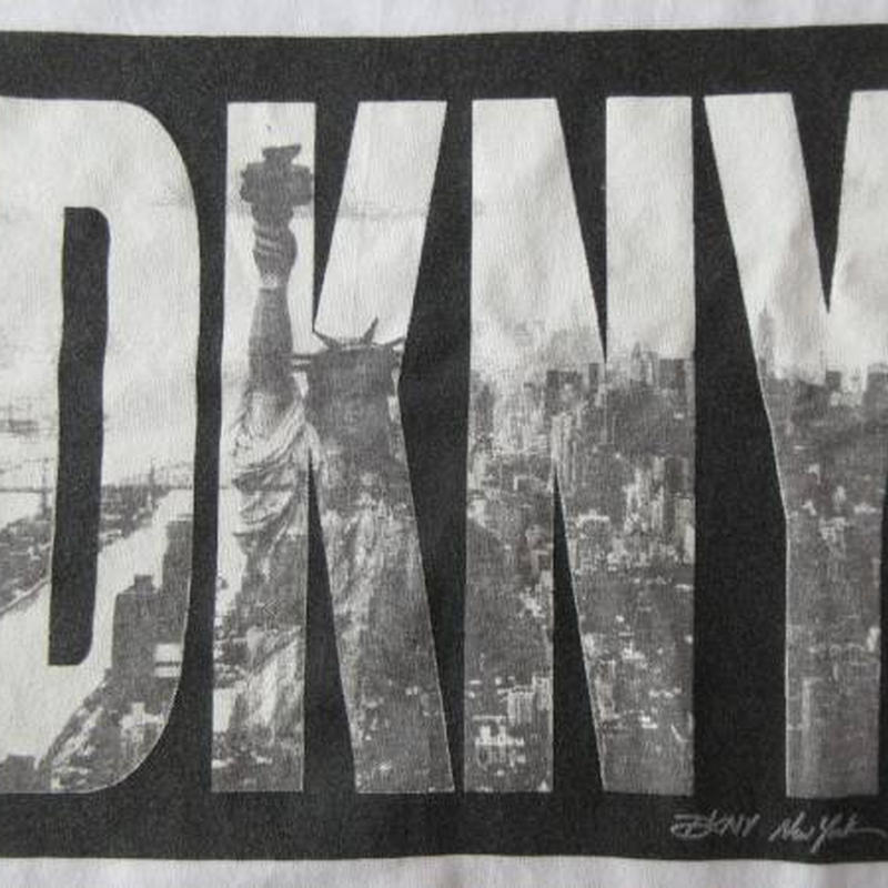 90's USA製 DKNY 自由の女神 フォト BOXロゴ Tシャツ L ビッグシルエット ボックスNYC写真JEANSオーバーサイズXL XXL星条旗 SUPNY元ネタ【deg】