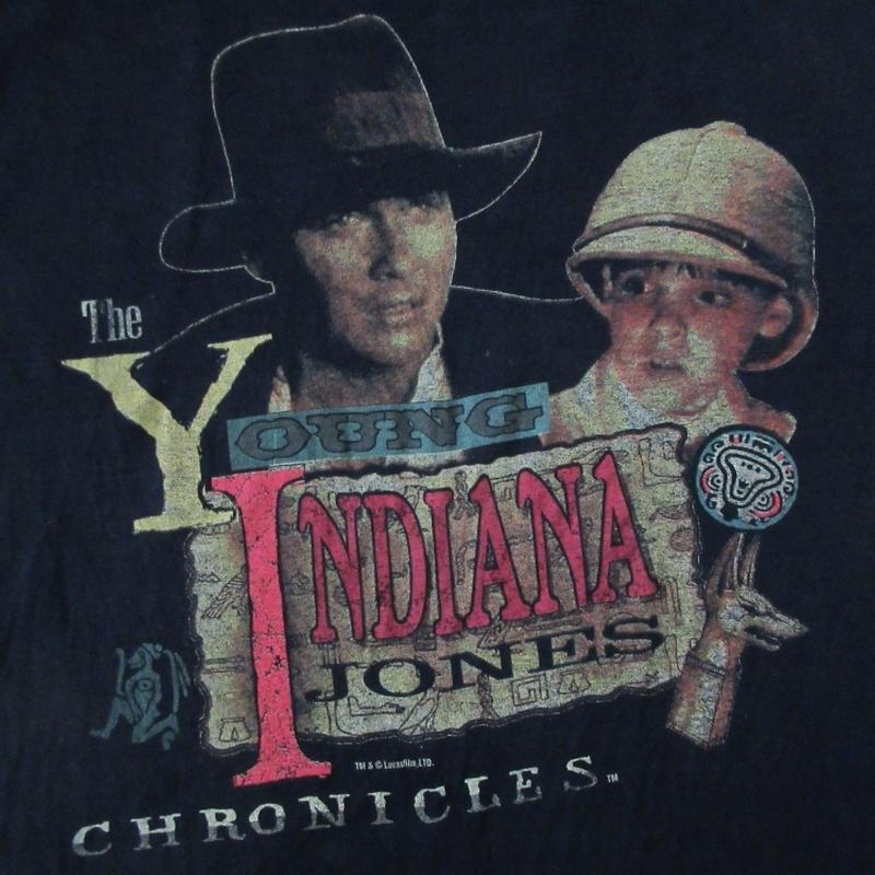 90's USA製 インディ・ジョーンズ 若き日の大冒険 フォト Tシャツ L 黒 Young Indiana Jones Chronicles ジョージ・ルーカス ART 芸術【deg】