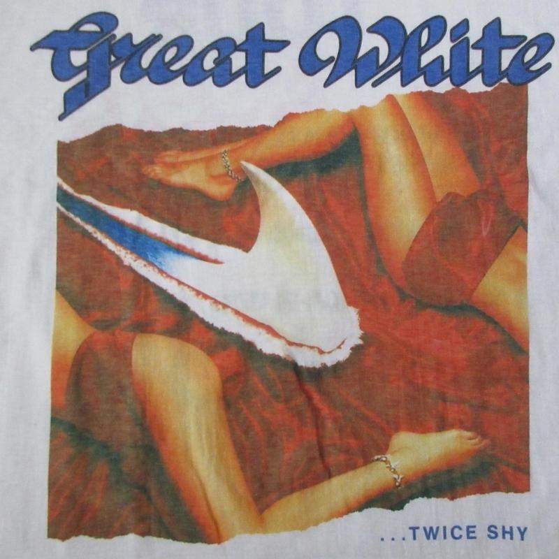 90's Great White ... Twice Shy JAPAN TOUR 1990 Tシャツ L 白 グレイト・ホワイト トゥワイス・シャイ ハードロック バンド LA【deg】