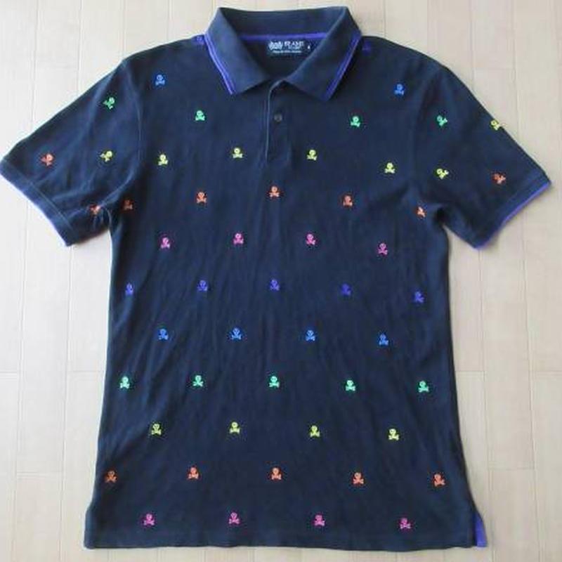 BEAMS スカル 刺繍 半袖 ポロシャツ M 黒 カラフル クレイジー ビームス【deg】