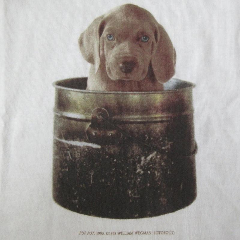 90's William Wegman FOTOFOLIO PUP POT フォト Tシャツ S ウィリアム ウェッグマン ワイマナラー犬 マン レイ