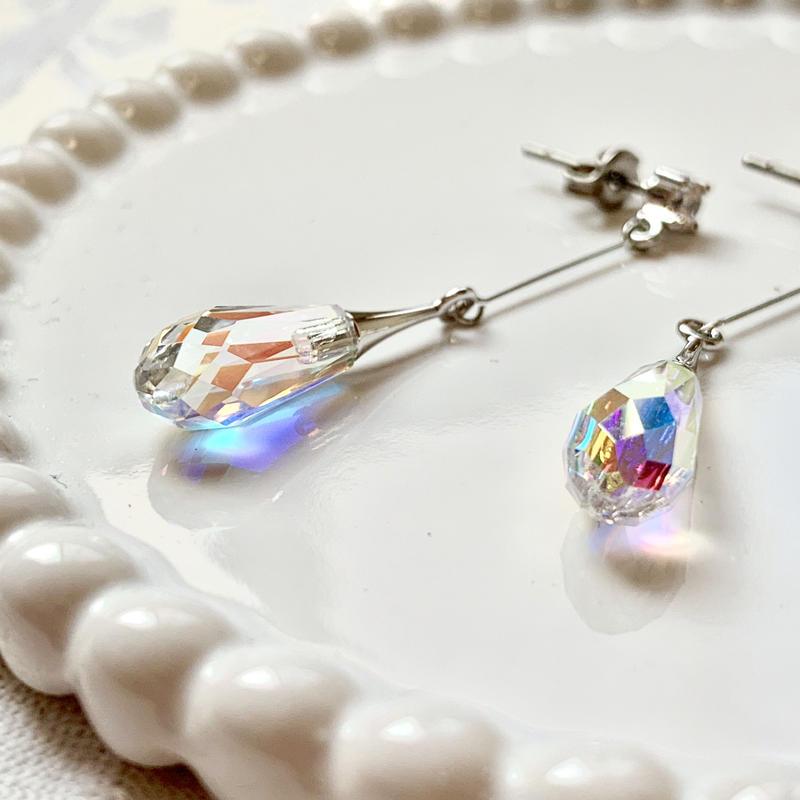 織り姫の涙(R×クリスタルAB)ピアス