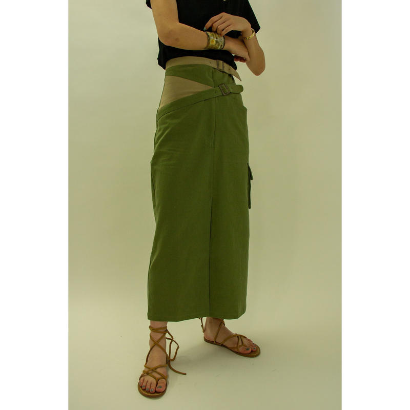"【""little $uzie"" Original #3】Bi-color Cross Belt Skirt (ls050)"