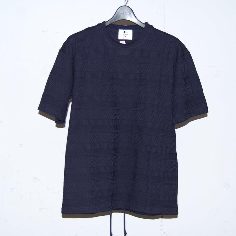 【 291295=HOMME】 ナバホ柄ジャガードTシャツ ネイビ