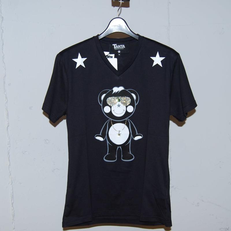★TANTA★ DAIMOND SWAROVSKI SUNGLASSES CHAPPY VネックTシャツ ブラック