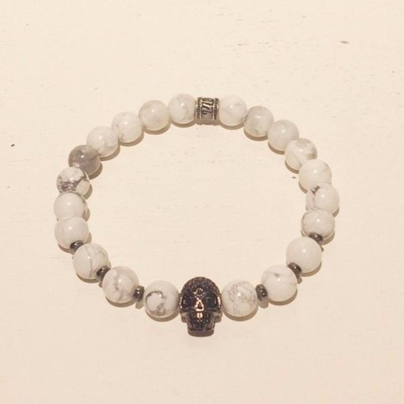 【mancino】天然石スカルブレスレット ホワイト