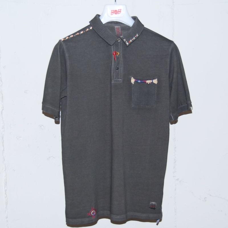 【BOB】オーバーダイ加工ポロシャツ ブラック