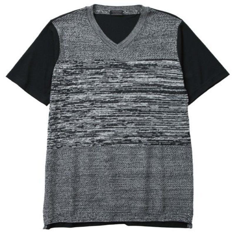 【CUSTOM CULTURE】 アクリルニット×T/C天竺 コンビTシャツ ブラック