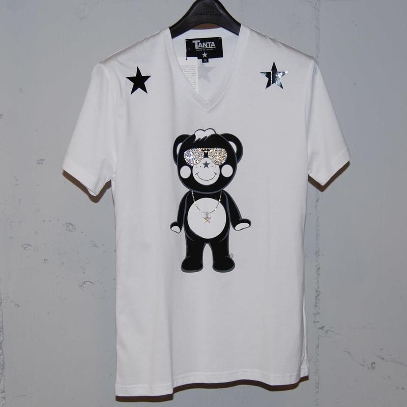 ★TANTA★ DAIMOND SWAROVSKI SUNGLASSES CHAPPY VネックTシャツ ホワイト