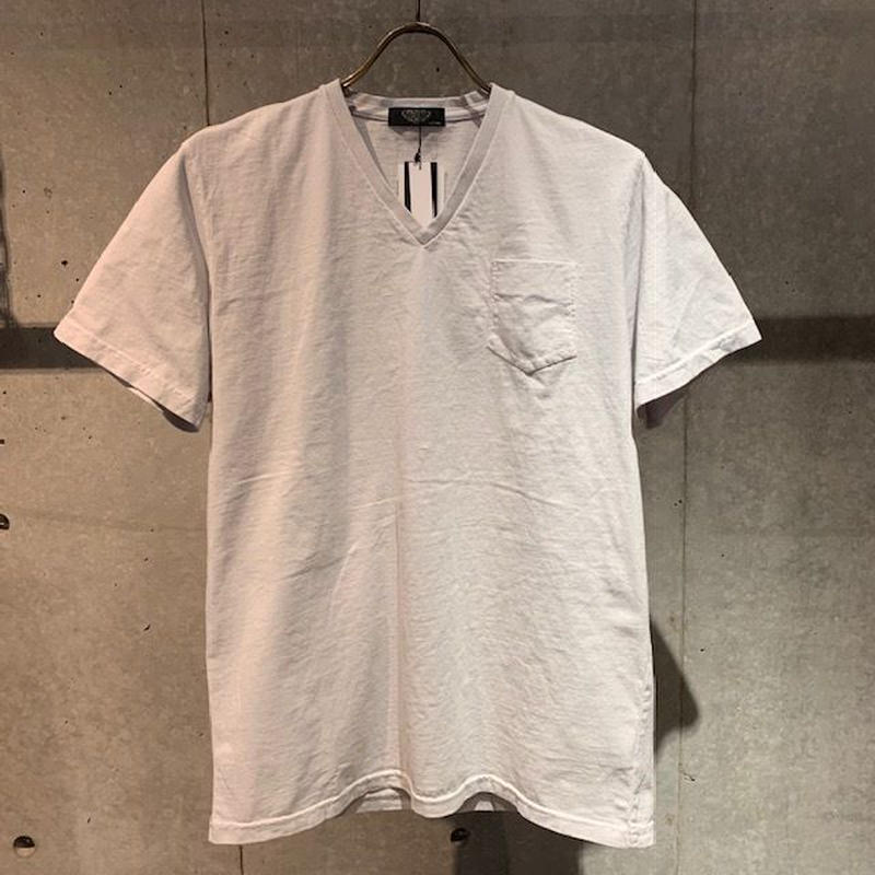 【PAZZO】製品染め VネックTシャツ ライトグレー