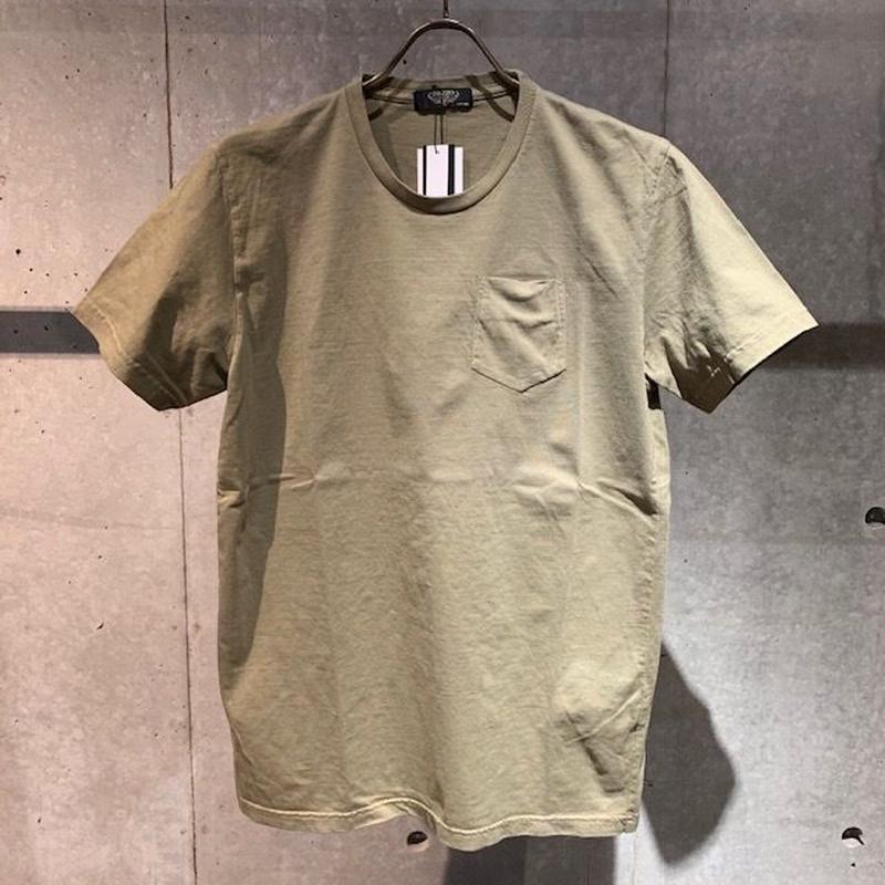 【PAZZO】製品染め クルーネックTシャツ カーキ