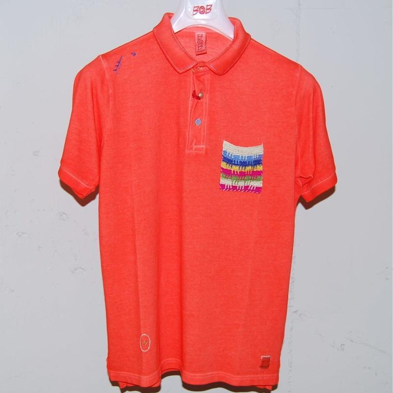 【BOB】オーバーダイ加工ポロシャツ オレンジ