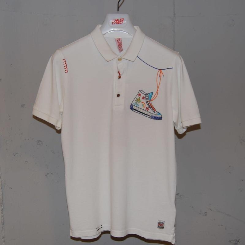 【BOB】オーバーダイ加工ポロシャツ ホワイト