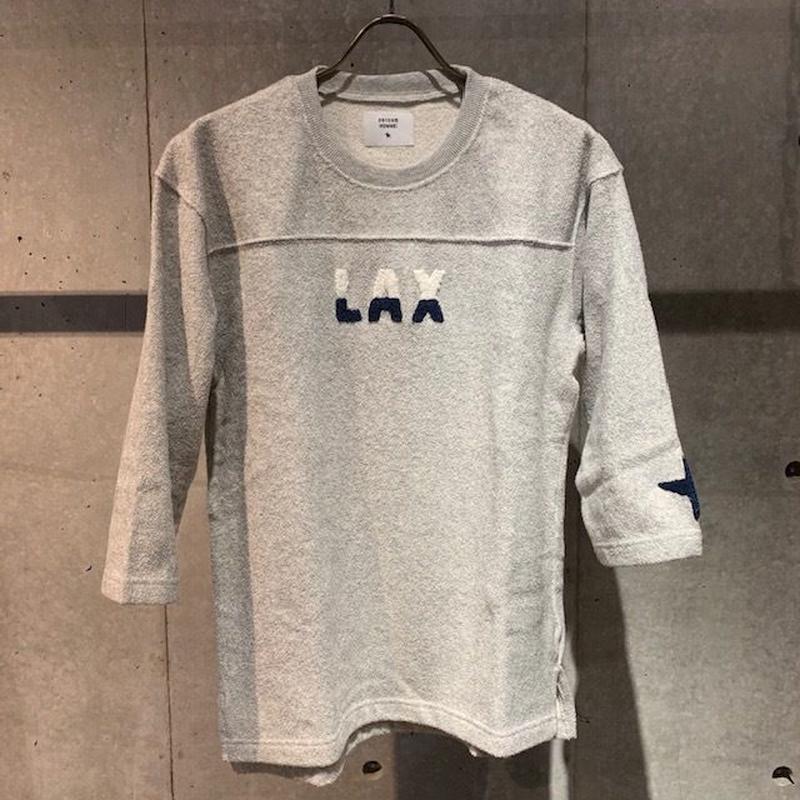 【291295=HOMME】両面パイル七分袖フットボールTシャツ グレー