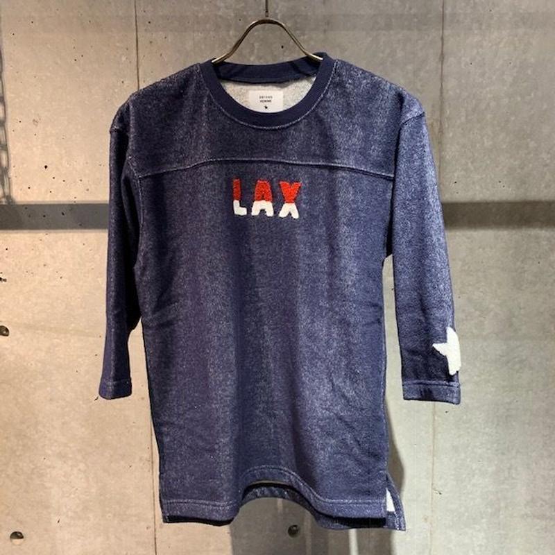 【291295=HOMME】両面パイル七分袖フットボールTシャツ ネイビー