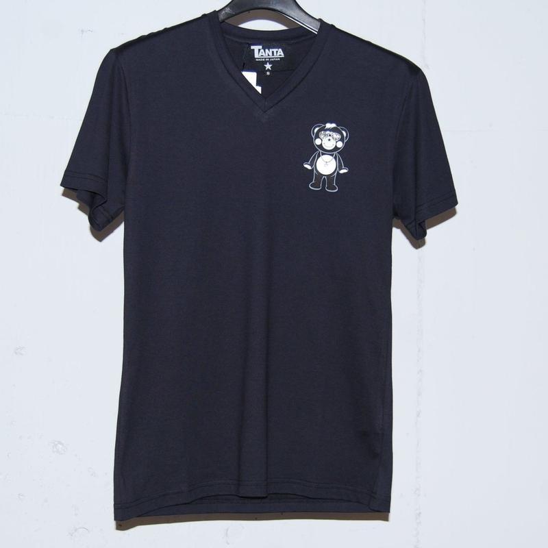 ★TANTA★ DAIMOND SWAROVSKI LIL CHAPPY VネックTシャツ ブラック