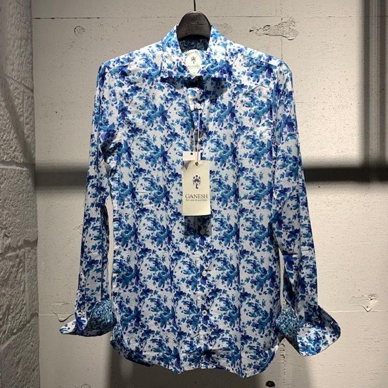 【GANESH(ガネーシュ)】パターンデザインシャツ ブルー系