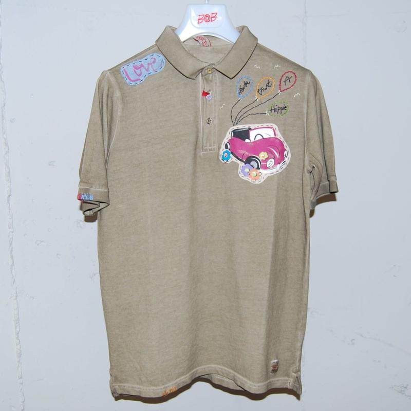 【BOB】オーバーダイ加工ポロシャツ カーキ