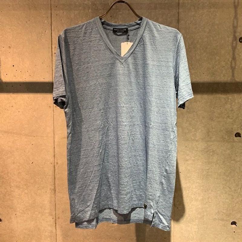 【Custom Culture】リネン天竺シルケット VネックTシャツ サックスブルー