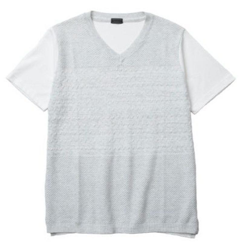 【CUSTOM CULTURE】 アクリルニット×T/C天竺 コンビTシャツ ライトグレー