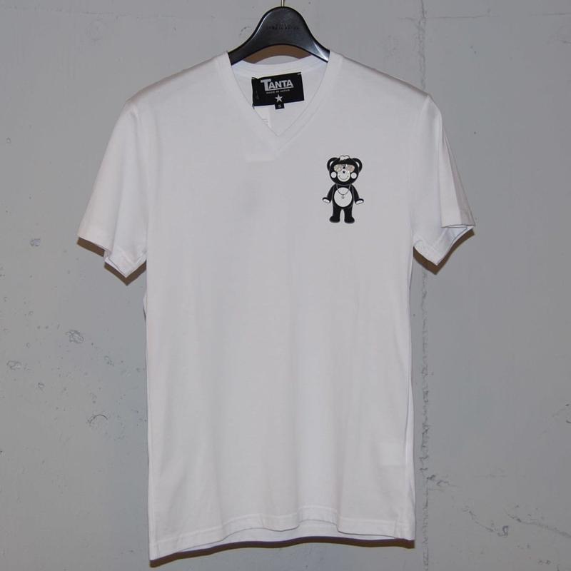 ★TANTA★ DAIMOND SWAROVSKI LIL CHAPPY VネックTシャツ ホワイト