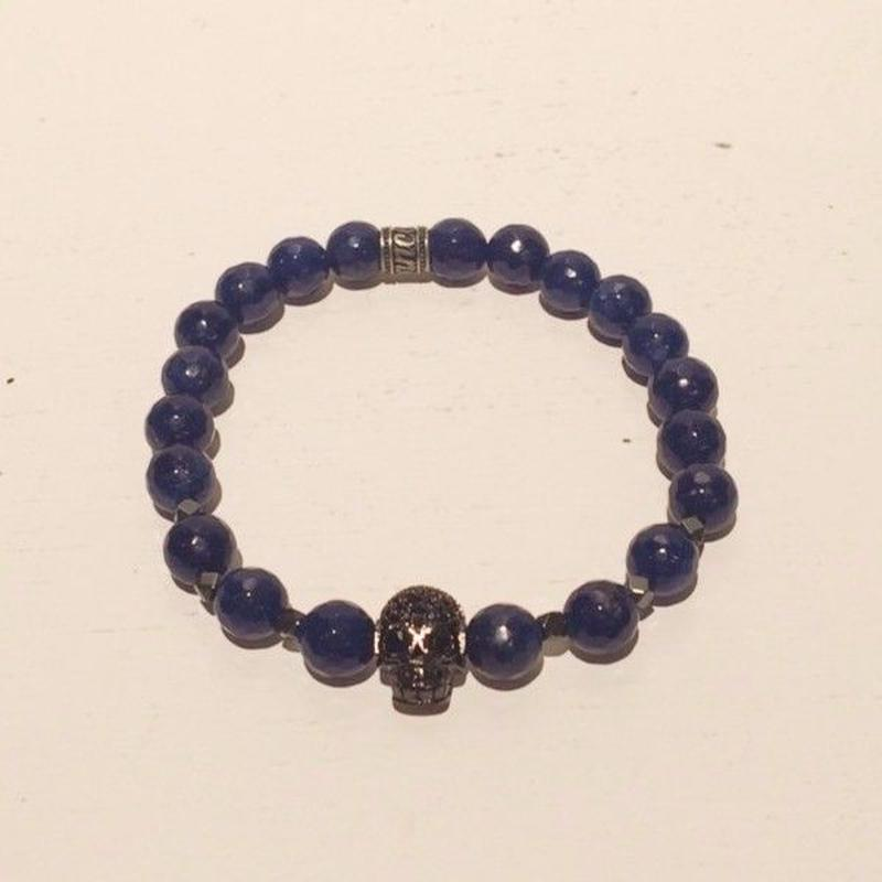 【mancino】天然石スカルブレスレット ブルー