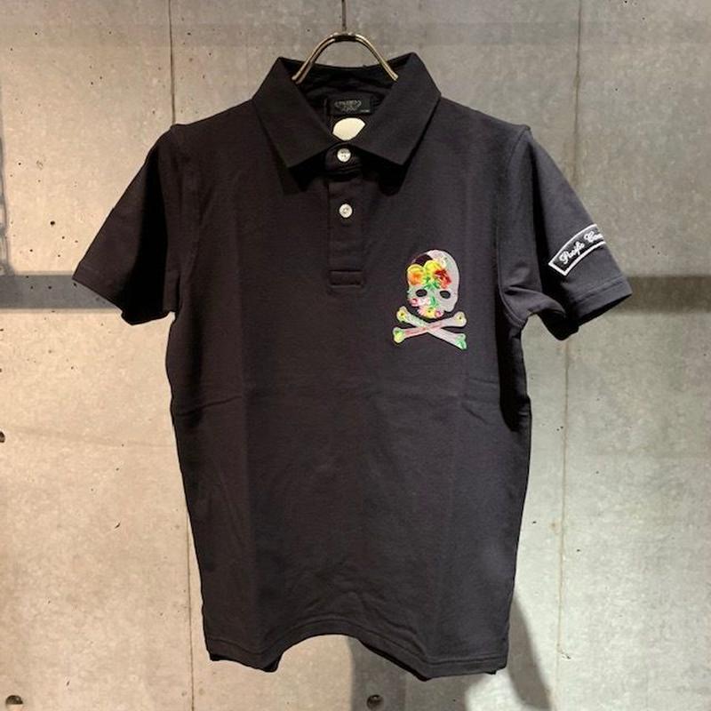 【PAZZO】スカル刺繍ポロシャツ ブラック