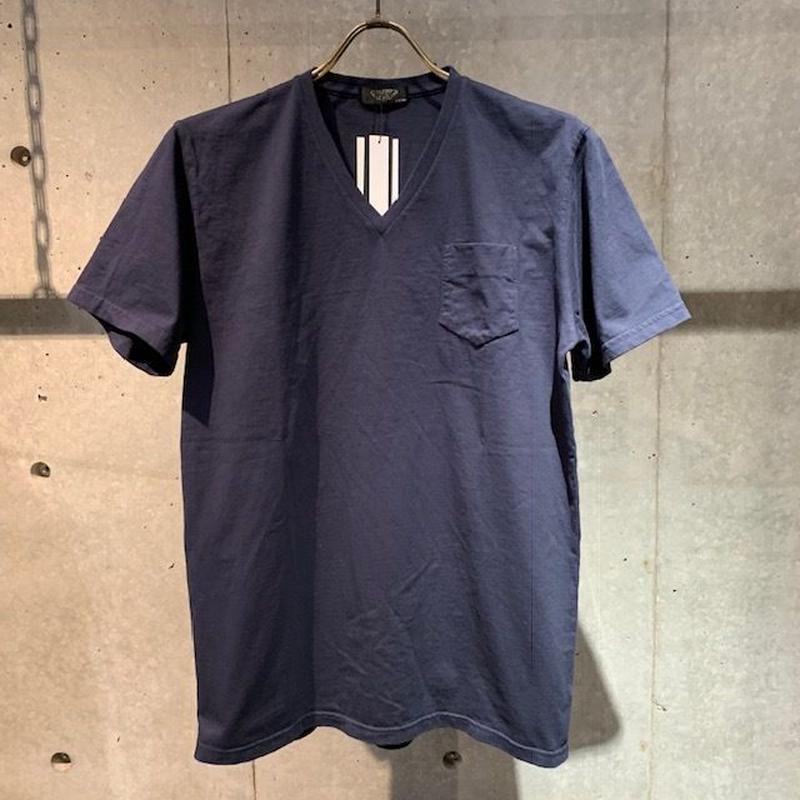 【PAZZO】製品染め VネックTシャツ ネイビー