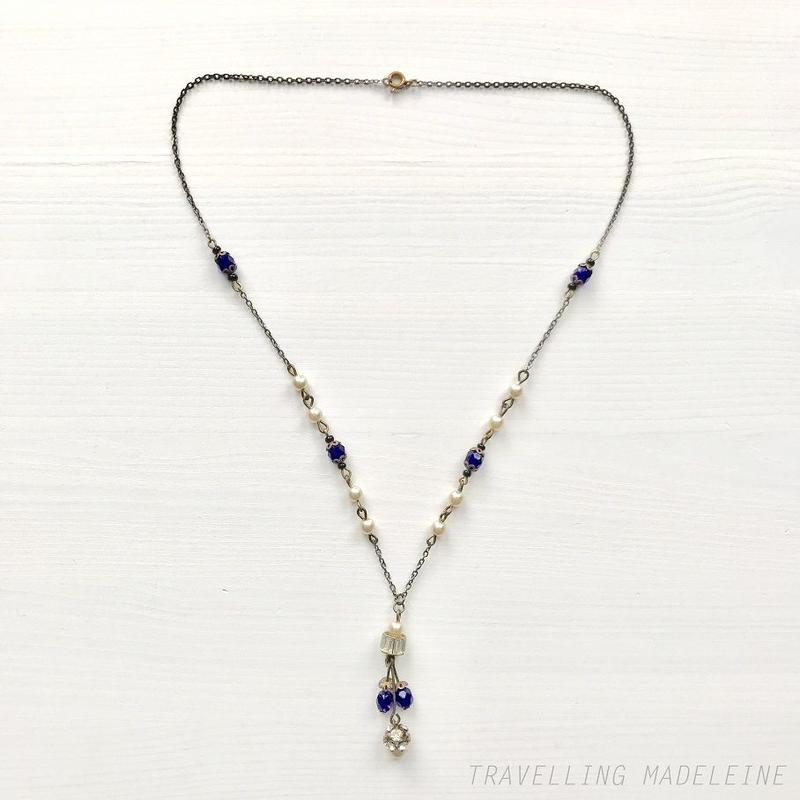 ART DECO Royal Blue Glass Beads & Pearl Tassel Necklace ロイヤルブルーグラス & パール タッセル ネックレス(Su19-181N)