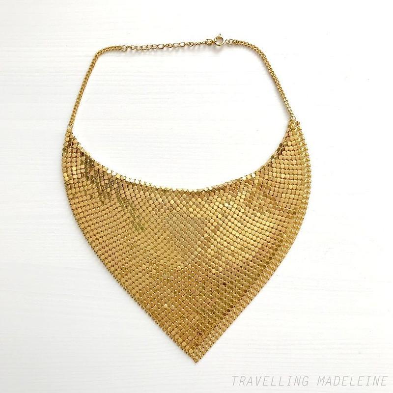 1970's Gold Metal Mesh Scarf Bib Necklace ゴールド メタルメッシュ スカーフ ビブネックレス(Su19-43N)